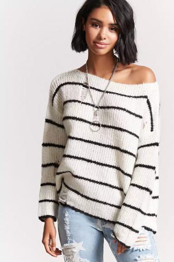 Striped Open-Knit Sweater