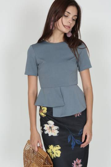 Asymmetric Peplum Top in Ash Blue (7725608ABLU)