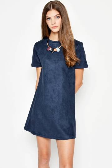 ZAYNA COMBED SUEDE DRESS NAVY