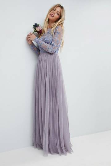 ASOS WEDDING Embroidered Mesh Maxi Dress