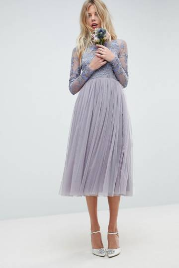 ASOS WEDDING Embroidered Mesh Midi Dress