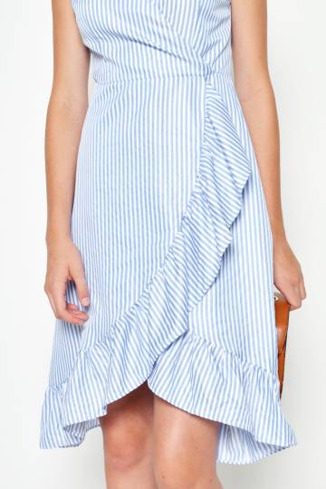 ELORA STRIPED WRAP DRESS LIGHT BLUE