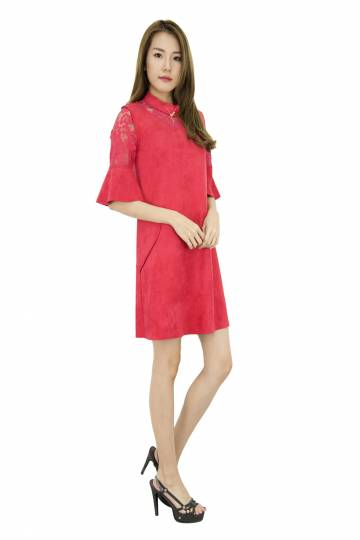 Oaana Collar Laces Shift Dress