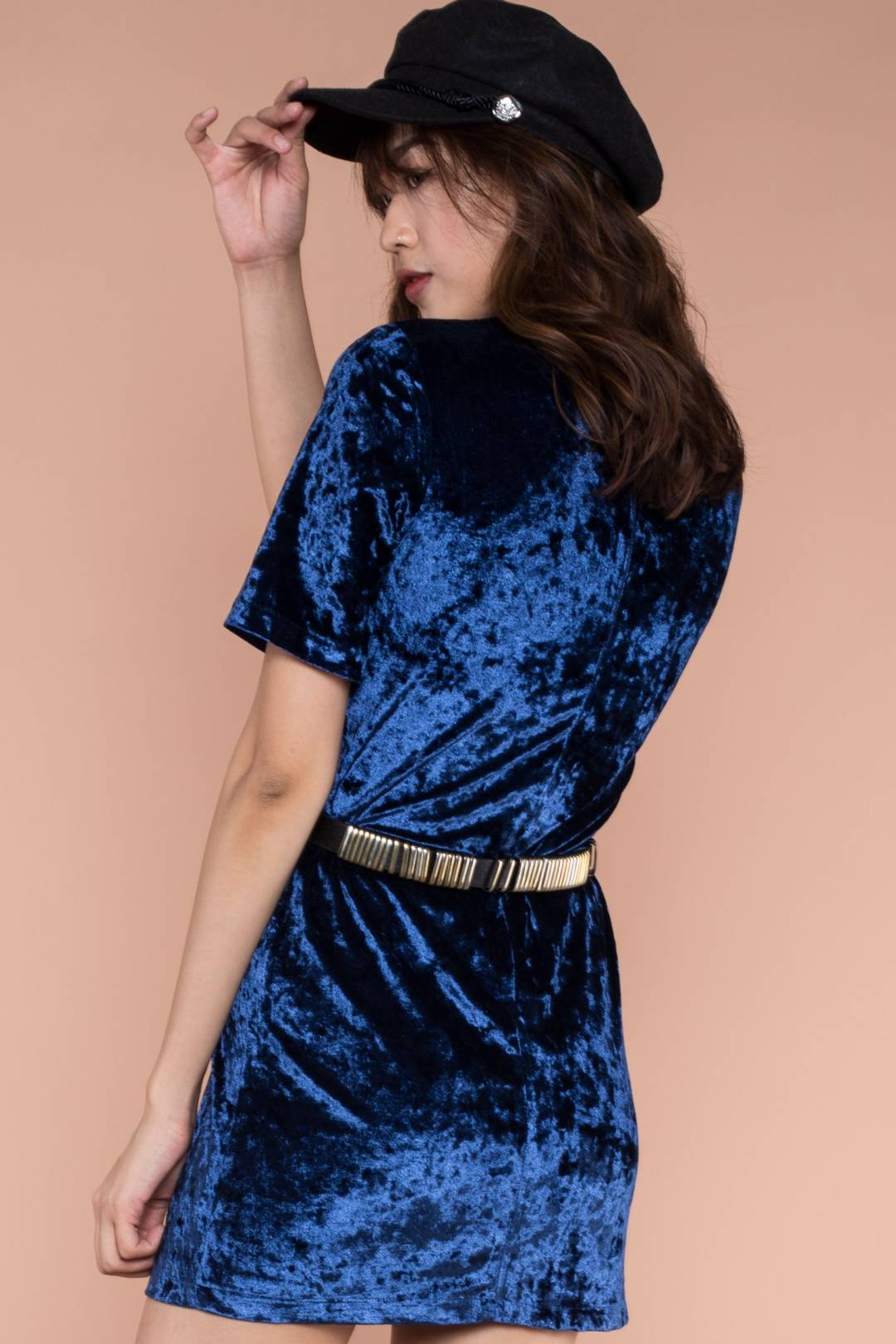 Party Casual Velvet Dress in Navy