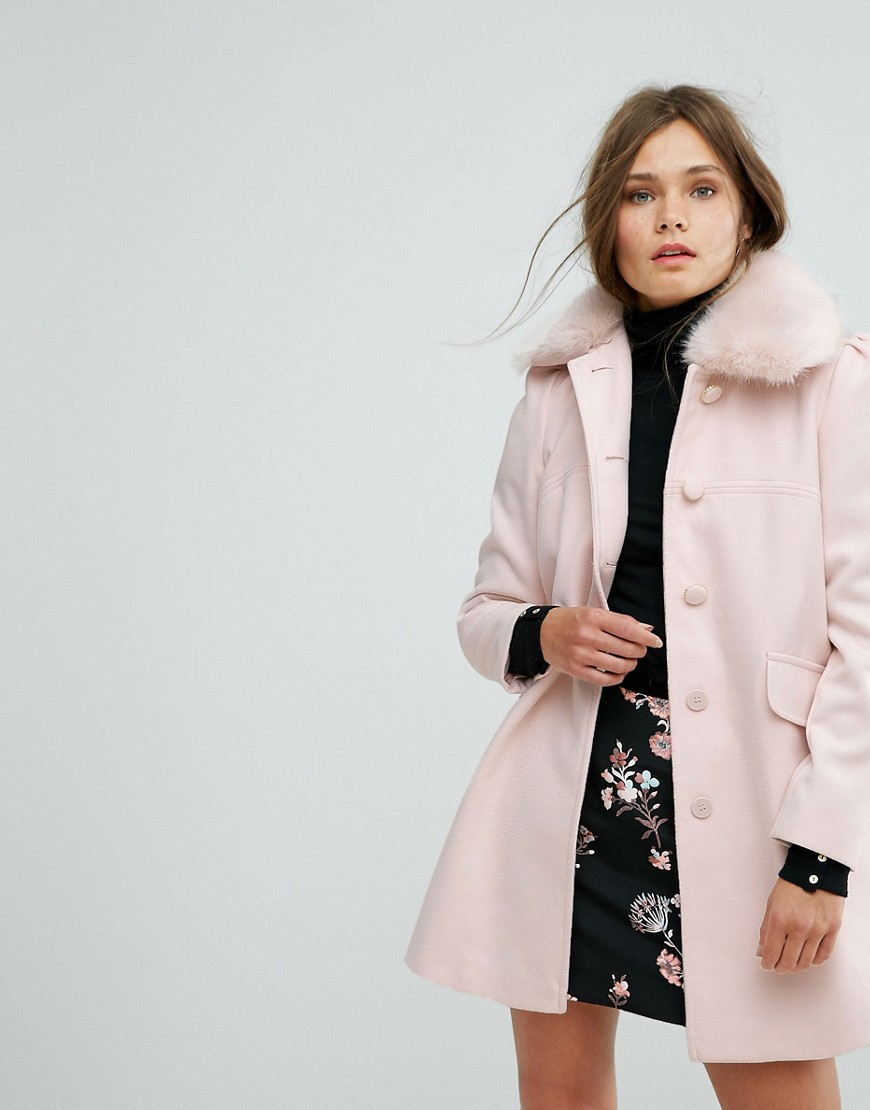 Miss Selfridge Faux Fur Collar Pea Coat - ShopperBoard 3bb00a089f5e0
