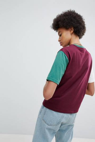 a7c1b35e212d6 ... Fila Oversized Boyfriend T-Shirt With Chest Logo And Colour Block  Sleeves ...