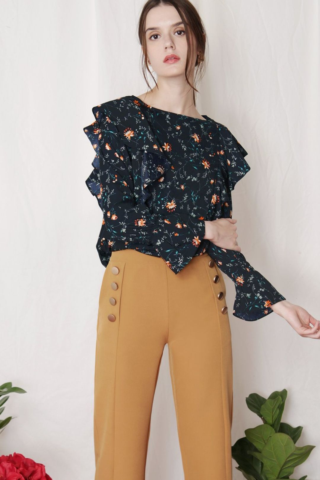 INDULGE Floral Ruffled Top (Navy)