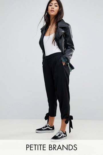 Noisy May Petite High Waisted Trouser With Tie Detail Cuff