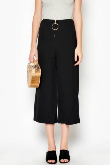 VERONE GOLD RING FLARE PANTS BLACK