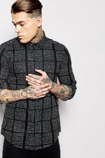 ASOS Shirt In Long Sleeve With Square Dot Print