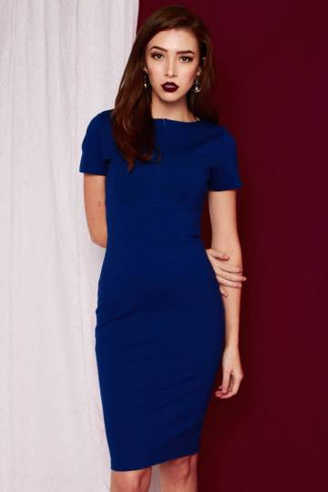 PREMIUM Victoria Zip Structured Midi Dress in Cobalt Blue [S/M/L] - *BACKORDERS