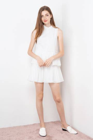 MACY TIER DRESS WHITE