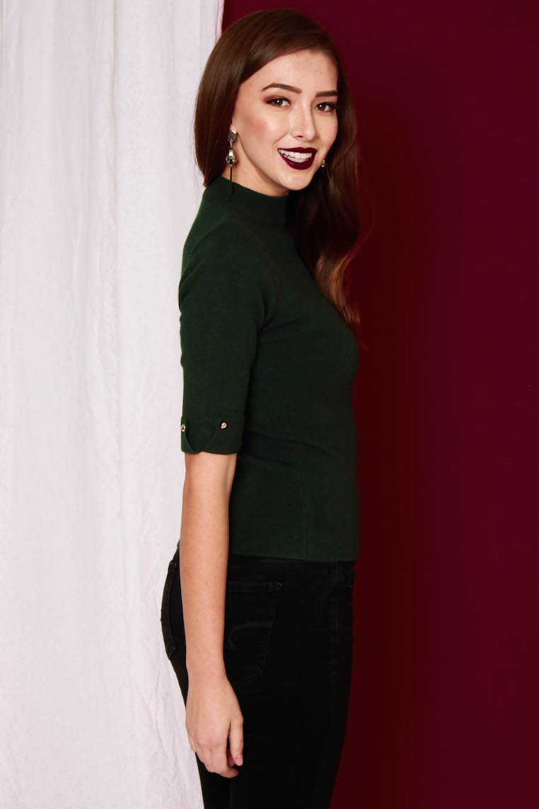 PREMIUM Kate Essential Knit Top in Forest Green