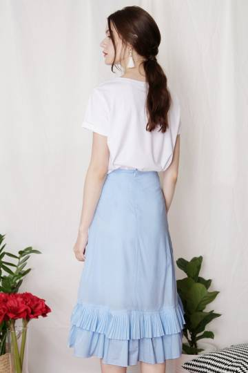 CHERISH Pleated Ruffle Skirt (Sky)