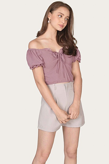 Marmalade Ruffle Cropped Top - Mauve Pink (Backorder)