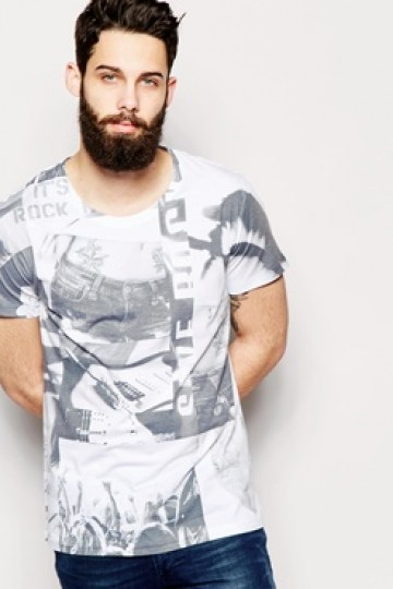 Only & Sons T-Shirt with All Over Tattoo Sublimation Print