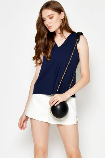 BRYNA PLEATED PANEL TOP NAVY