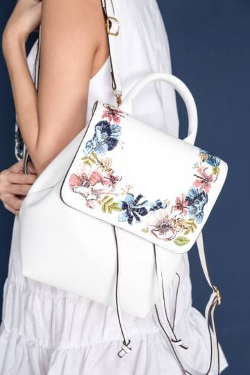 Wander, Girl Embroidered Backpack White