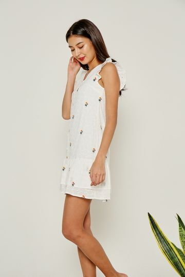 Yara Floral Embroidery Dropwaist Eyelet Dress in White
