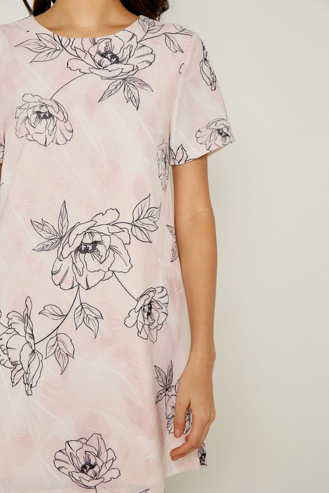 *Online Exclusive* Selene Abstract Floral Shift Dress in Pink