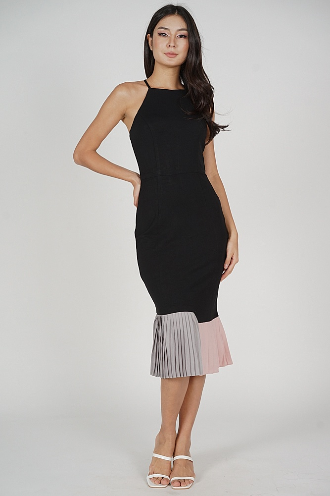 Dilara Pleated-Hem Dress in Black - Arriving Soon