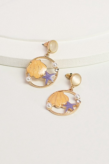Aerie Seashell Earrings - Lavender