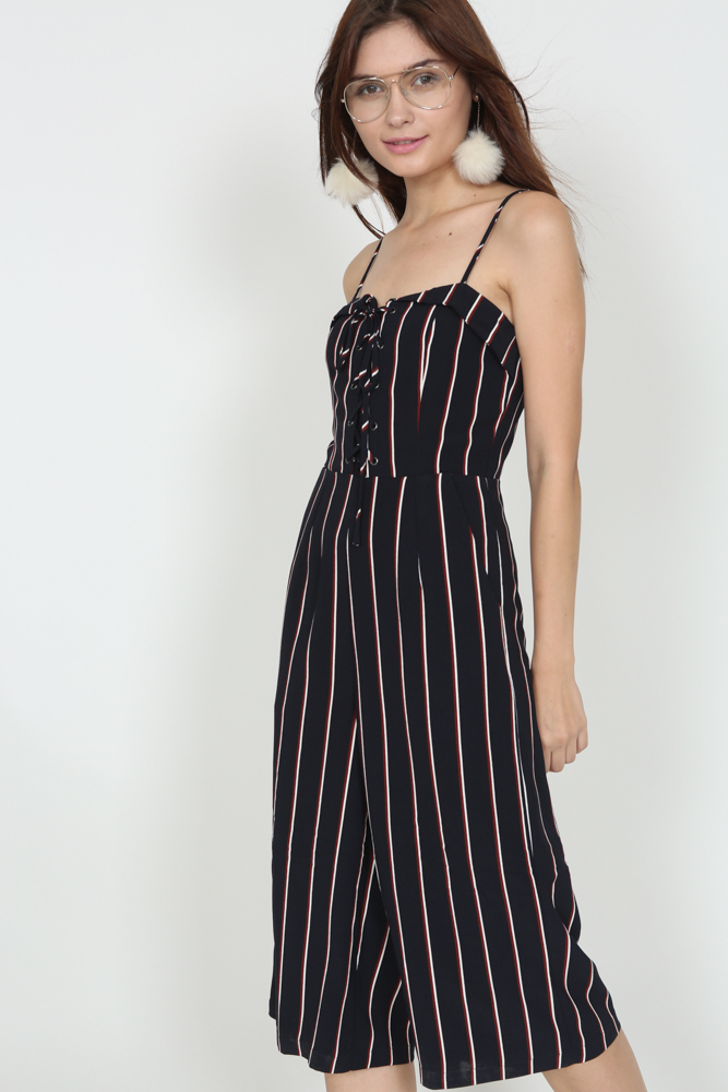 8fe3edab160 Flap-Over Lace-Up Jumpsuit in Navy Stripes (2225930NAVYS). From MDS  Collections