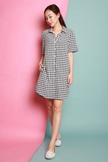 HOLLIE BLACK GINGHAM SHIRTDRESS