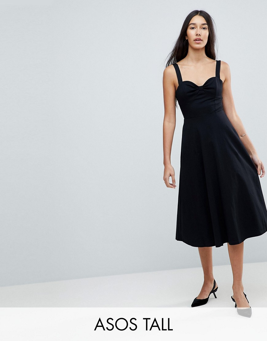 Midi Cotton Sundress with Cups - Black Asos Tall Free Shipping With Paypal Free Shipping Cheap Real Low Price Fee Shipping Sale Online Discount With Credit Card Cost Online PFRDkcTl
