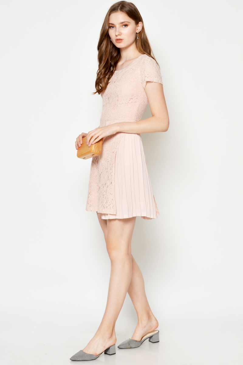 CANDACE LACE PLEATED DRESS BLUSH