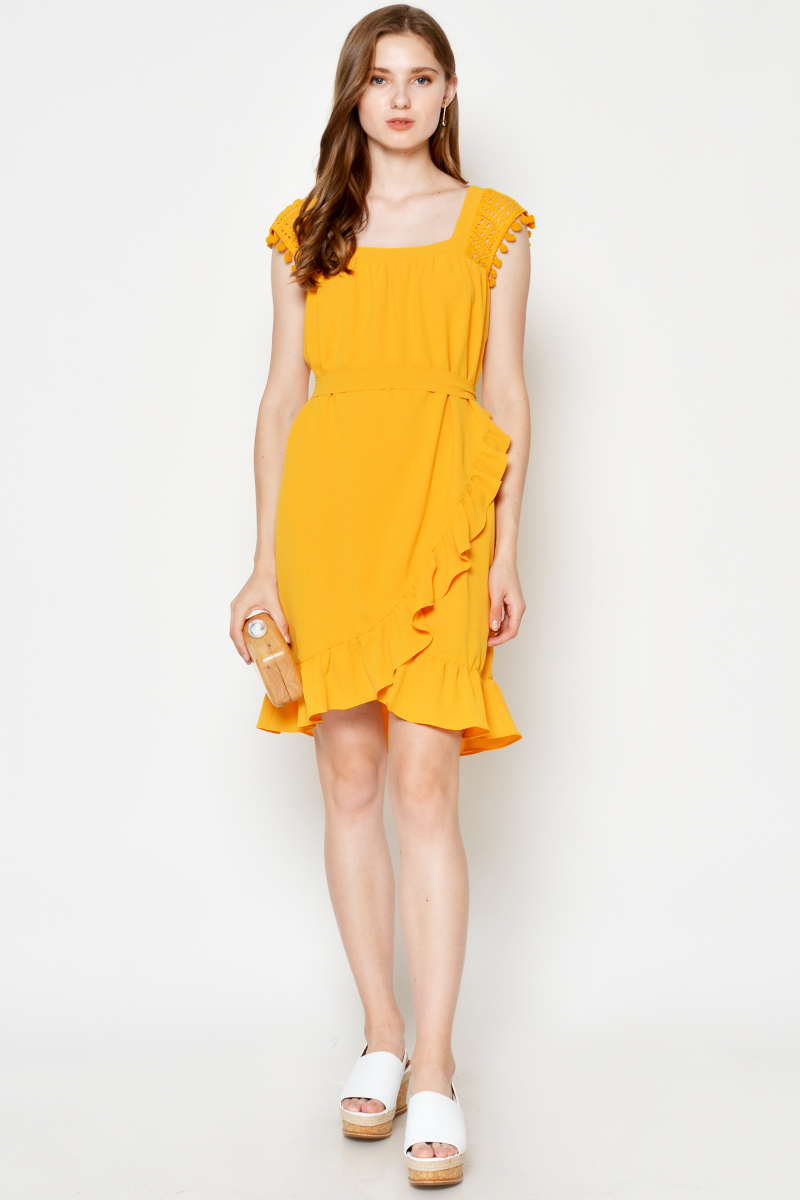 MITZIE ASYMMETRICAL RUFFLE DRESS MARIGOLD