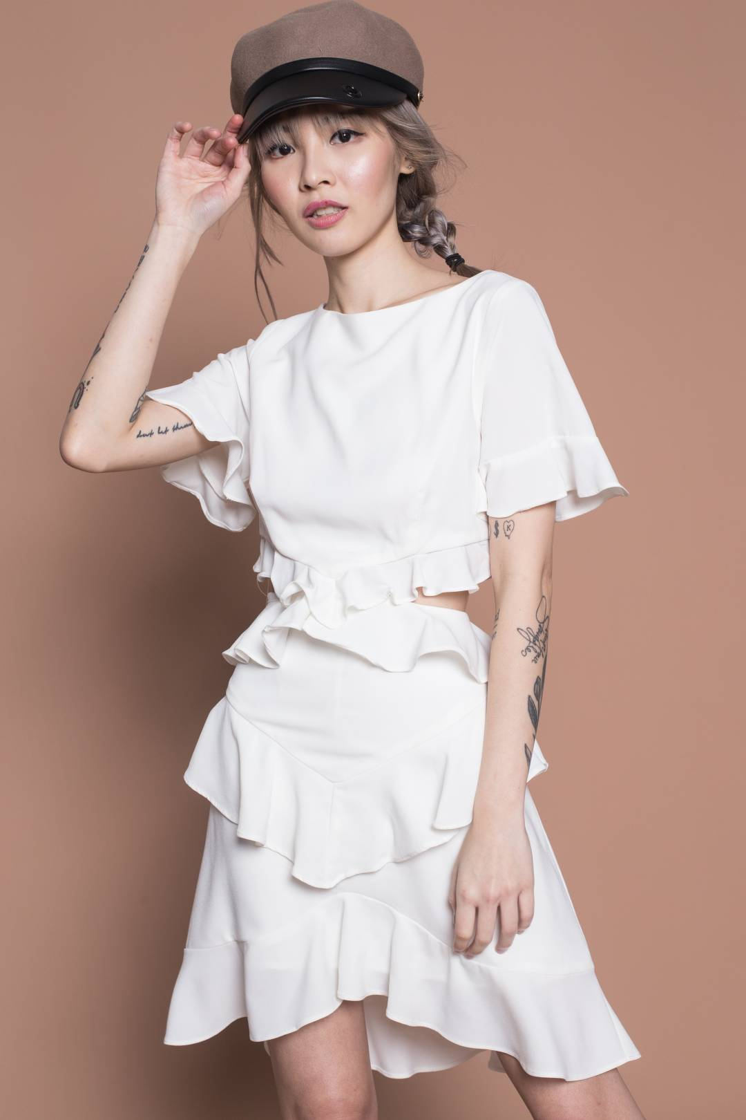 Huat Ruffle Two Piece Set in White