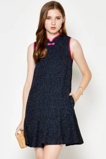 GAIA DROPWAIST TWEED CHEONGSAM NAVY
