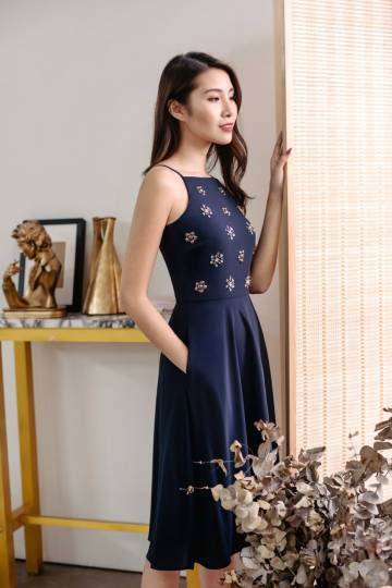 Twinkling Grace Midi Dress (Navy)