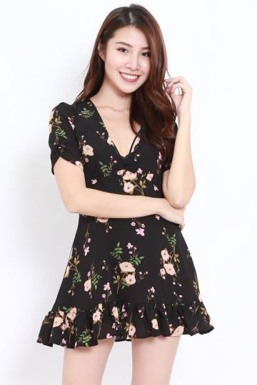V Neck Floral Dress (Black)