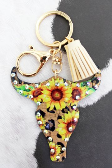 Crystal Trimmed Sunflower Leopard Steer Keychain