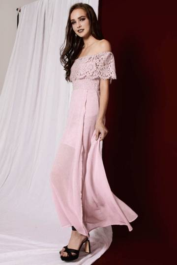 PREMIUM Ivanka 2-Way Statement Lace Maxi Dress in Dusty Pink [S/M/L]