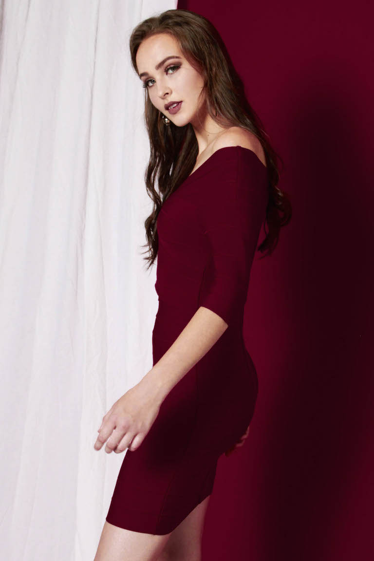 PREMIUM Bethany Off-Shoulder Bandage Bodycon in Wine Red  - *BACKORDERS*