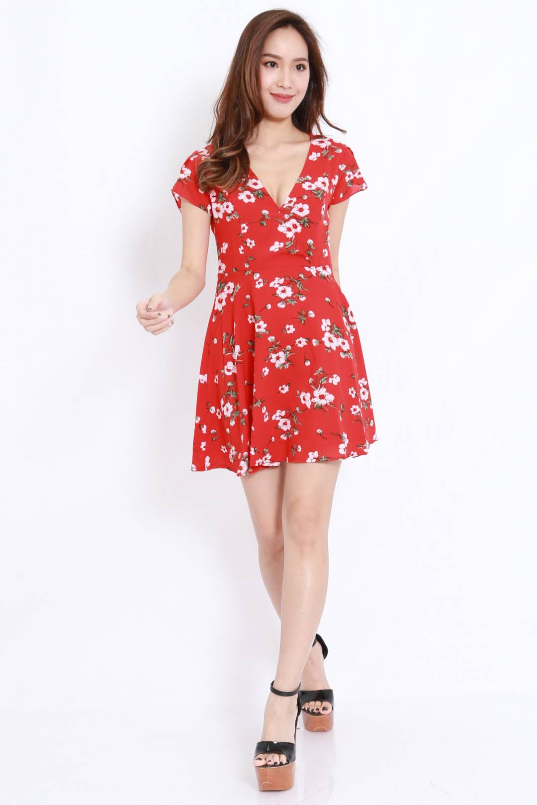 Red Floral Overlap Skater Dress