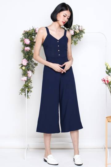 REBECCA GOLD BUTTON JUMPSUIT NAVY