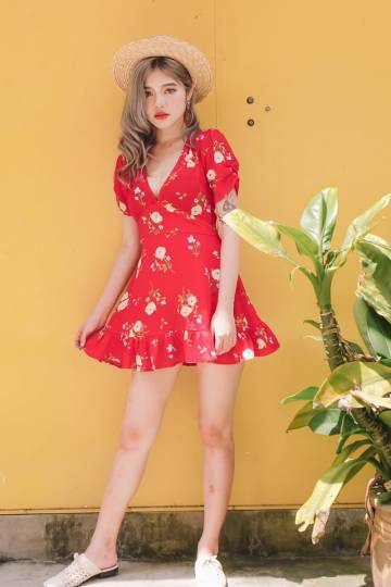 Floral Mini Dress in Red