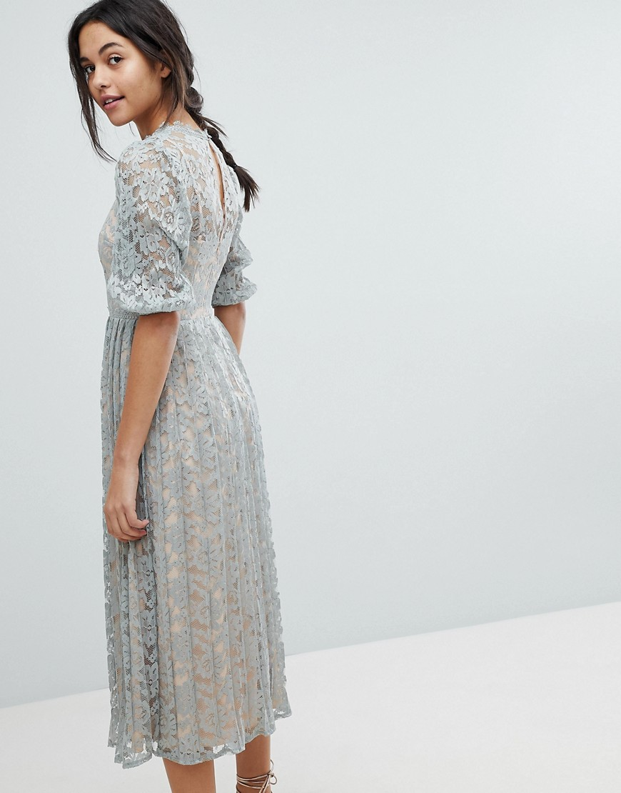 9a7759f7783 Little Mistress All Over Lace Maxi Dress With Balloon Sleeve Detail ...