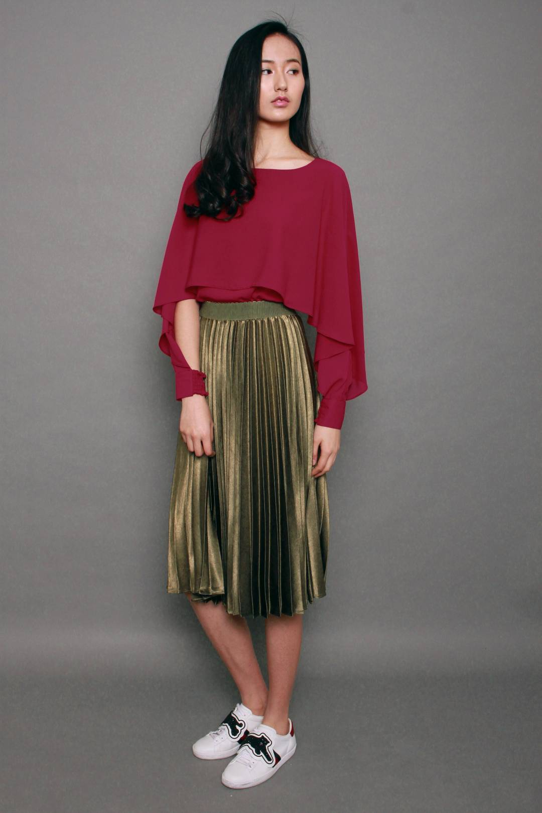 Metallic Long Pleated Skirt in Olive