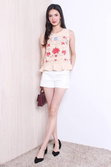 GISELE LUNAR EMBROIDERY TOP IN BEIGE [S/M/L]