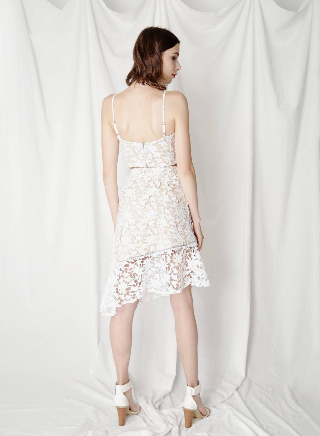 Oath Crochet Lace Skirt (White)