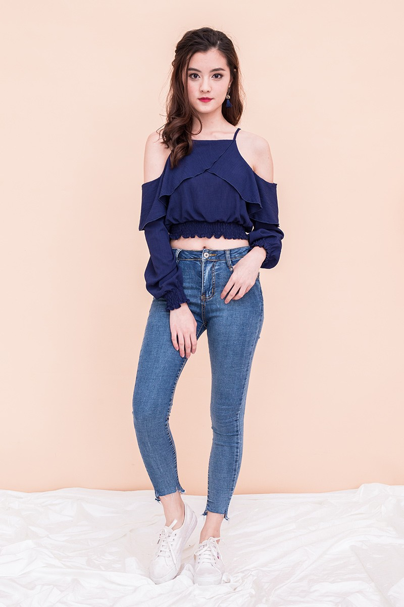 5177c59a62c7a Marjorie Cold-Shoulder Ruffled Top in Navy. From Wild Peonies
