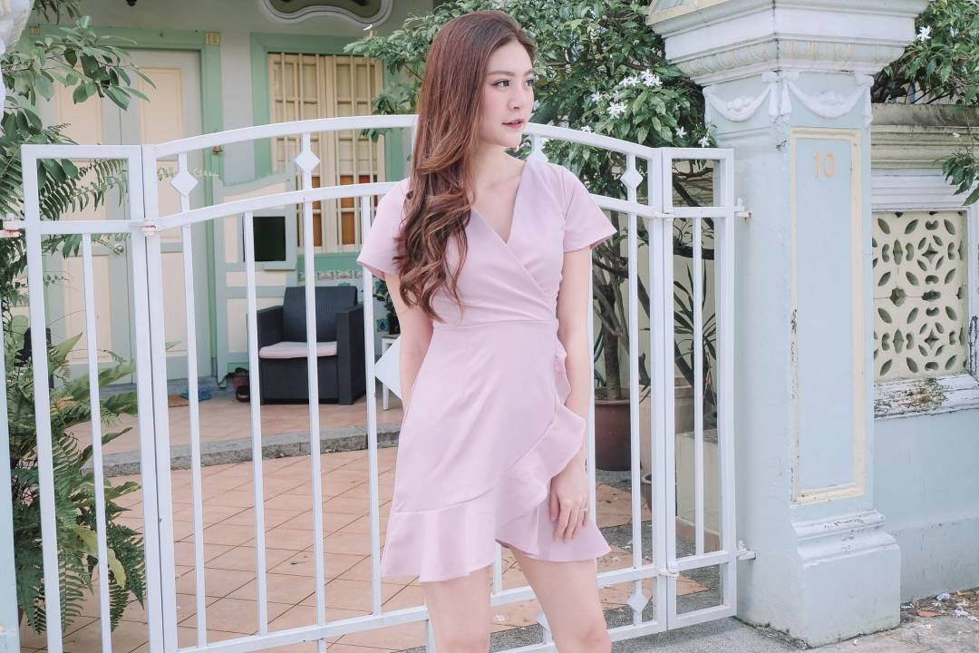 [Restocked] Ruffled Wrap Dress in Pink