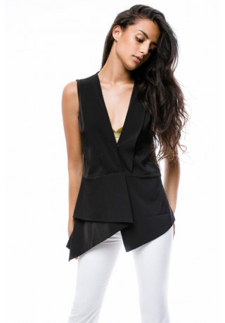 Gianna Collection V neck vest (Black)