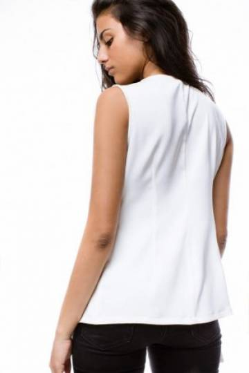 Gianna Collection V neck vest  (White)