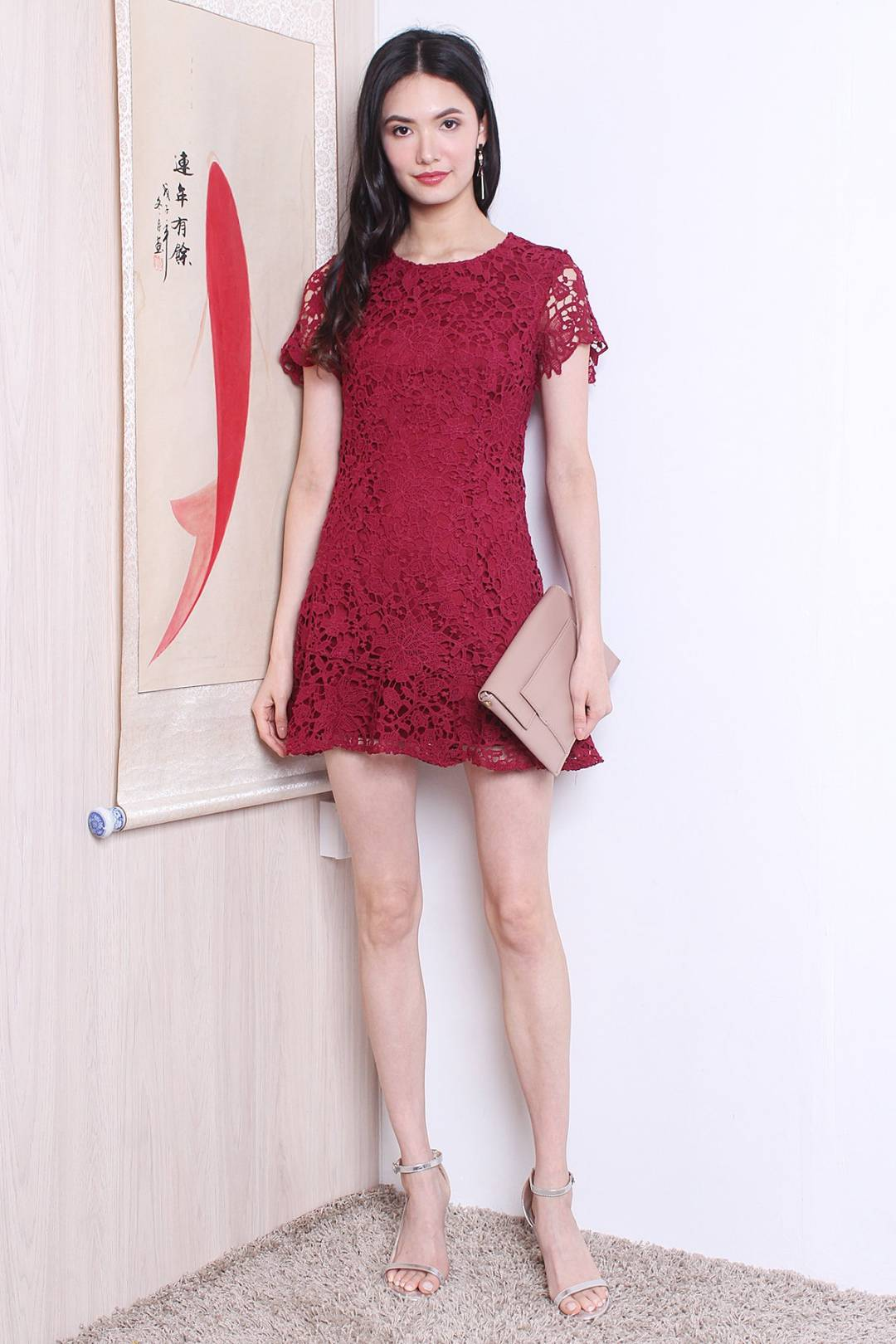 MADEBYNM HARLOW CROCHET FLUTED HEM SLEEVED DRESS IN WINE RED [XS/S/M/L]